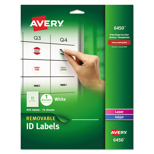 REMOVABLE MULTI-USE LABELS, INKJET/LASER PRINTERS, 1