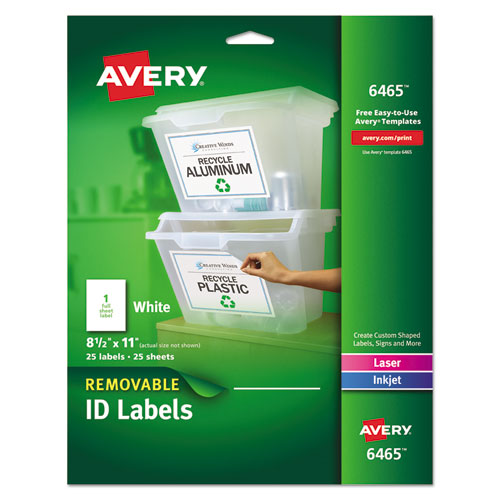 REMOVABLE MULTI-USE LABELS, INKJET/LASER PRINTERS, 8.5 X 11, WHITE, 25/PACK