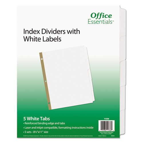 INDEX DIVIDERS WITH WHITE LABELS, 5-TAB, 11 X 8.5, WHITE, 5 SETS