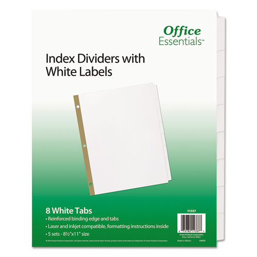 INDEX DIVIDERS WITH WHITE LABELS, 8-TAB, 11 X 8.5, WHITE, 5 SETS
