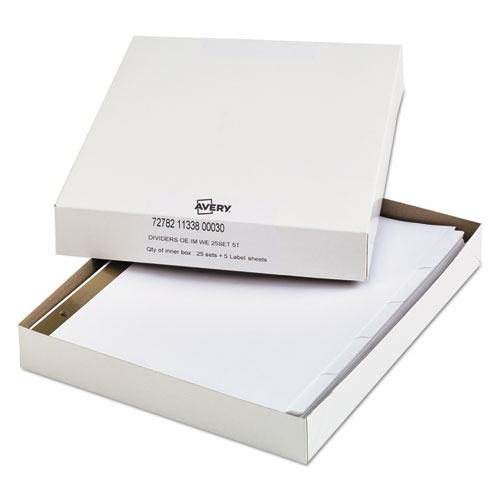 INDEX DIVIDERS WITH WHITE LABELS, 5-TAB, 11 X 8.5, WHITE, 25 SETS
