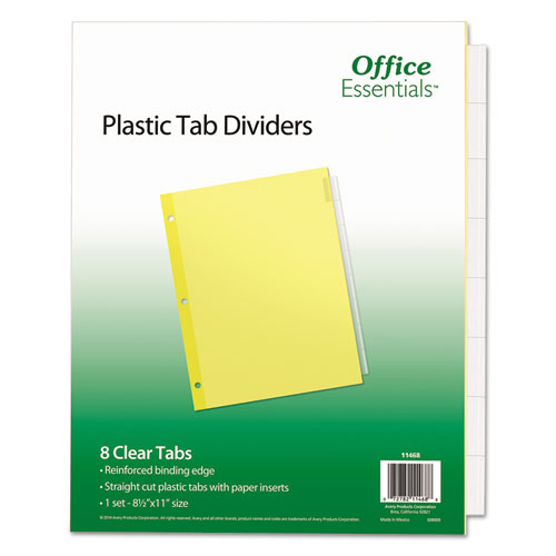 Plastic Insertable Dividers, 8-Tab, Letter