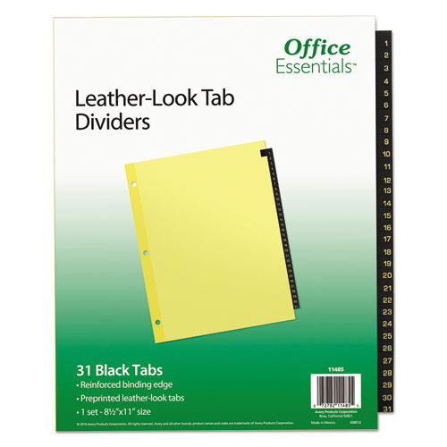 Preprinted Black Leather Tab Dividers, 31-Tab, Letter