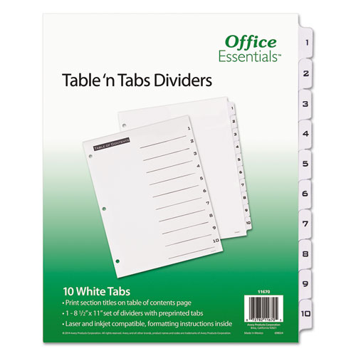 TABLE 'N TABS DIVIDERS, 10-TAB, 1 TO 10, 11 X 8.5, WHITE, 1 SET