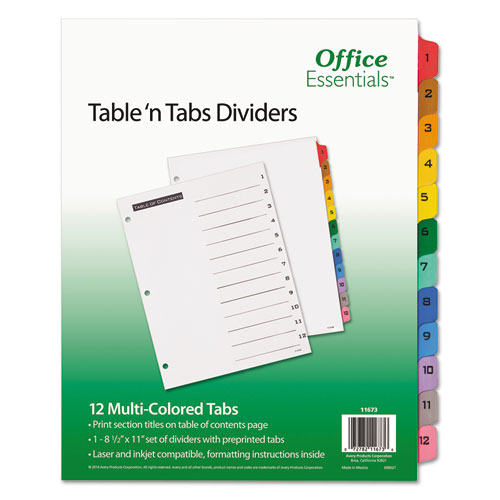 TABLE 'N TABS DIVIDERS, 12-TAB, 1 TO 12, 11 X 8.5, WHITE, 1 SET