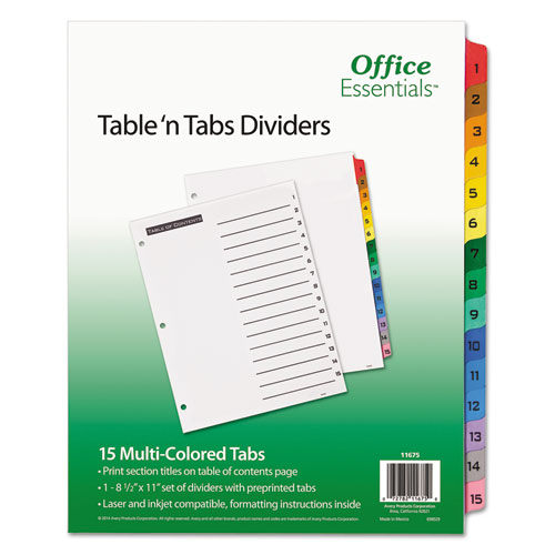 TABLE 'N TABS DIVIDERS, 15-TAB, 1 TO 15, 11 X 8.5, WHITE, 1 SET