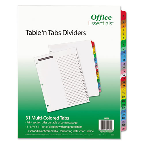 TABLE 'N TABS DIVIDERS, 31-TAB, 1 TO 31, 11 X 8.5, WHITE, 1 SET