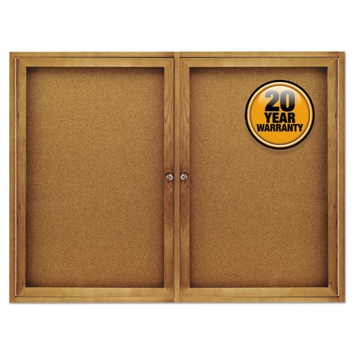 Enclosed Bulletin Board, Natural Cork/fiberboard, 48 X 36, Oak Frame