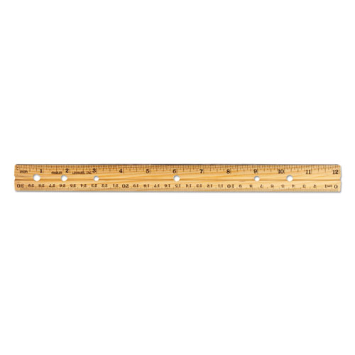 Beveled Wood Ruler W/single Metal Edge, 3-Hole Punched, 12