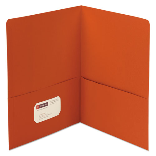 Two-Pocket Folder, Textured Paper, Orange, 25/box