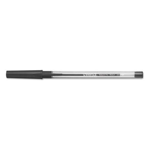 SMOOTH GRIP STICK BALLPOINT PEN, MEDIUM 1MM, BLACK INK, CLEAR BARREL, 24/PACK
