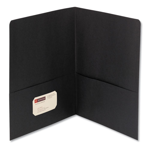Two-Pocket Folder, Textured Paper, Black, 25/box