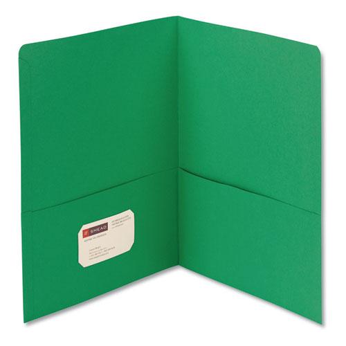 Two-Pocket Folder, Textured Paper, Green, 25/box