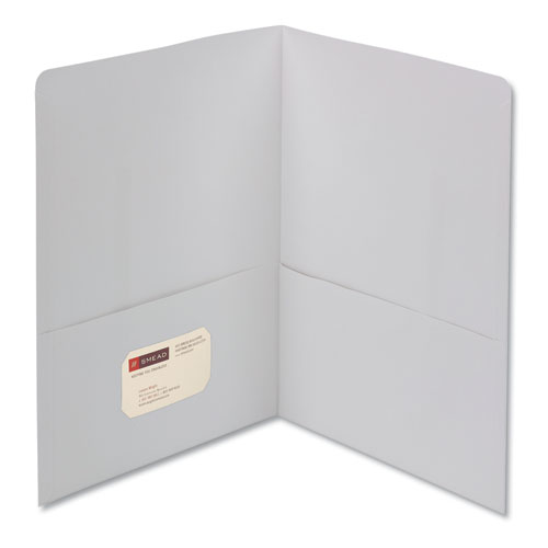 Two-Pocket Folder, Textured Paper, White, 25/box