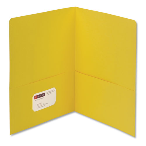 Two-Pocket Folder, Textured Paper, Yellow, 25/box