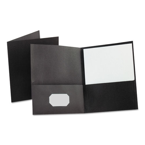 LEATHERETTE TWO POCKET PORTFOLIO, 8 1/2