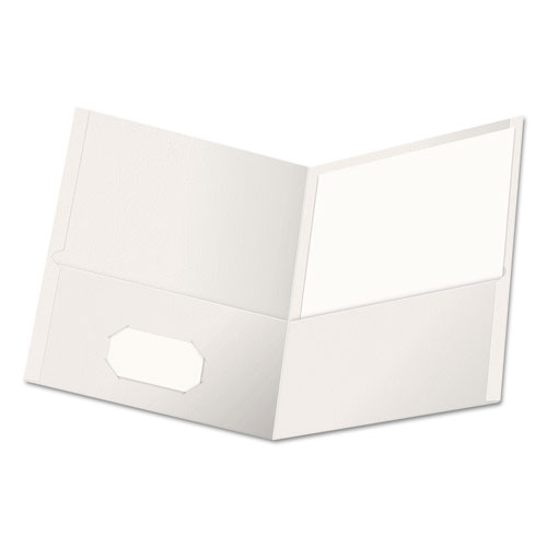 Two-Pocket Portfolio, Embossed Leather Grain Paper, White, 25/box