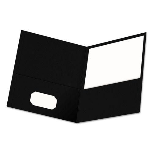 Two-Pocket Portfolio, Embossed Leather Grain Paper, Black, 25/box