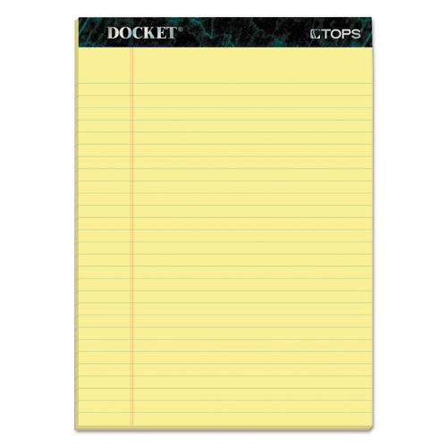 DOCKET RULED PERFORATED PADS, WIDE/LEGAL RULE, 8.5 X 11.75, CANARY, 50 SHEETS, 12/PACK