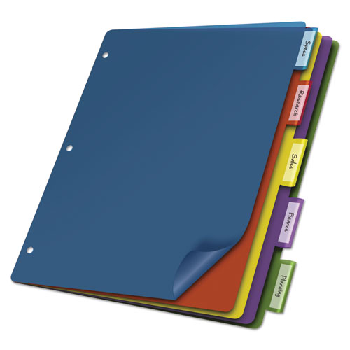 POLY INDEX DIVIDERS, 5-TAB, 11 X 8.5, ASSORTED, 4 SETS