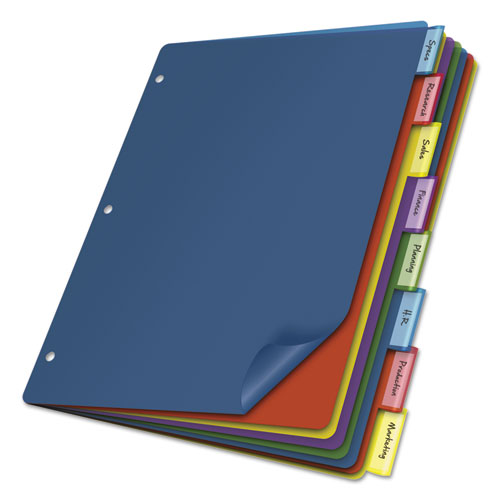 POLY INDEX DIVIDERS, 8-TAB, 11 X 8.5, ASSORTED, 4 SETS