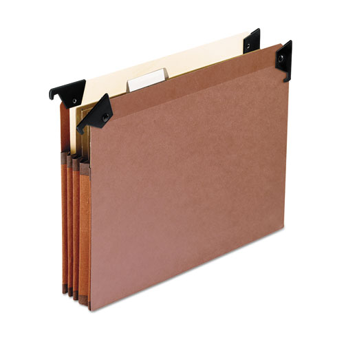 PREMIUM EXPANDING HANGING FILE POCKETS WITH SWING HOOKS AND DIVIDERS, LETTER SIZE, 1/5-CUT TAB, BROWN, 5/BOX
