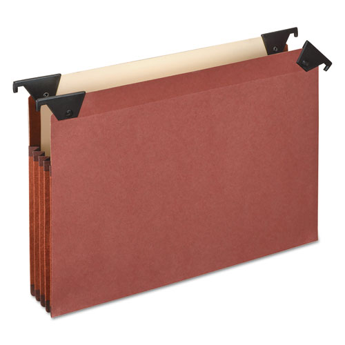 PREMIUM EXPANDING HANGING FILE POCKETS WITH SWING HOOKS AND DIVIDERS, LETTER SIZE, 1/3-CUT TAB, BROWN, 5/BOX