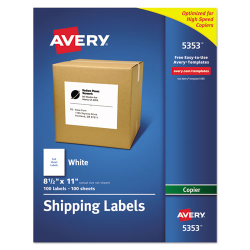 COPIER MAILING LABELS, COPIERS, 8.5 X 11, WHITE, 100/BOX