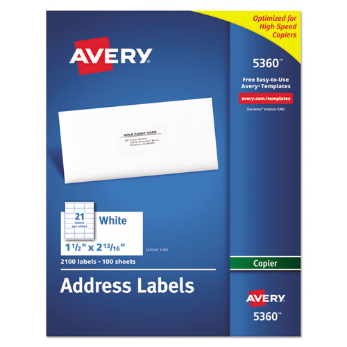 COPIER MAILING LABELS, COPIERS, 1.5 X 2.81, WHITE, 21/SHEET, 100 SHEETS/BOX