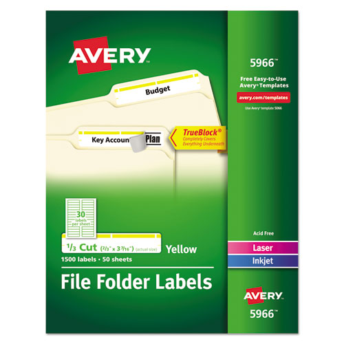 PERMANENT TRUEBLOCK FILE FOLDER LABELS WITH SURE FEED TECHNOLOGY, 0.66 X 3.44, WHITE, 30/SHEET, 50 SHEETS/BOX
