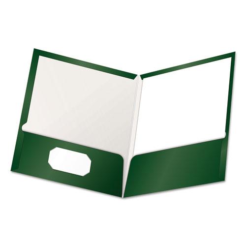 High Gloss Laminated Paperboard Folder, 100-Sheet Capacity, Green, 25/box