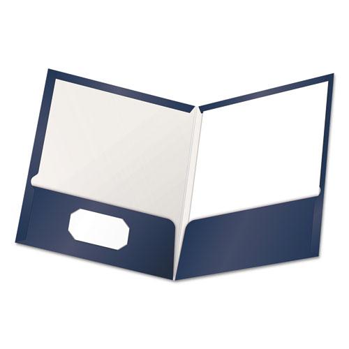 High Gloss Laminated Paperboard Folder, 100-Sheet Capacity, Navy, 25/box