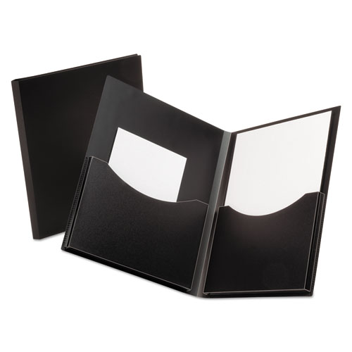 Poly Double Stuff Gusseted 2-Pocket Folder, 200-Sheet Capacity Black