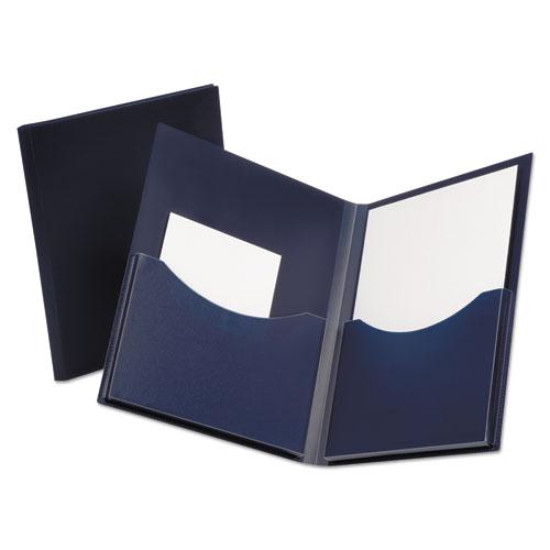 Poly Double Stuff Gusseted 2-Pocket Folder, 200-Sheet Capacity, Navy