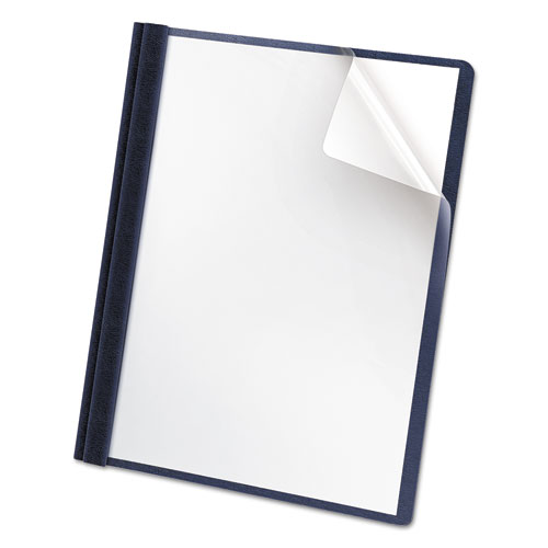 Premium Paper Clear Front Cover, 3 Fasteners, Letter, Blue, 25/box