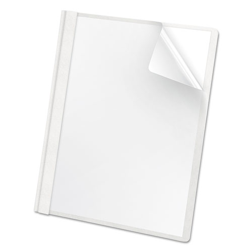 Premium Paper Clear Front Cover, 3 Fasteners, Letter, White, 25/box