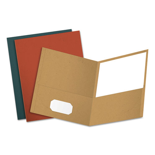 EARTHWISE BY OXFORD RECYCLED PAPER TWIN-POCKET PORTFOLIO, ASSORTED COLORS, 25/BOX