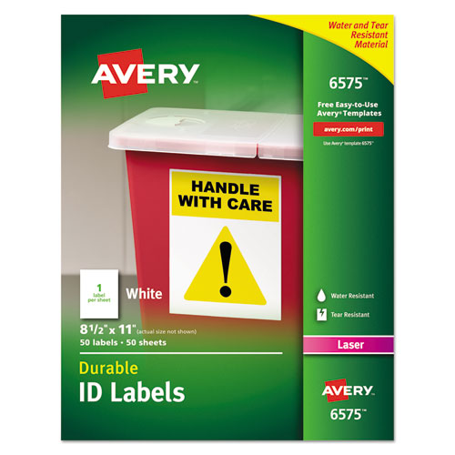 DURABLE PERMANENT ID LABELS WITH TRUEBLOCK TECHNOLOGY, LASER PRINTERS, 8.5 X 11, WHITE, 50/PACK