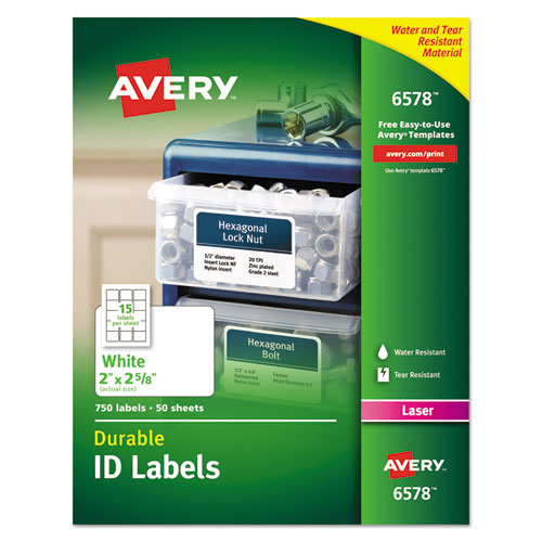 DURABLE PERMANENT ID LABELS WITH TRUEBLOCK TECHNOLOGY, LASER PRINTERS, 2 X 2.63, WHITE, 15/SHEET, 50 SHEETS/PACK