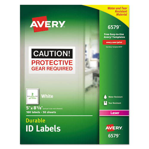 DURABLE PERMANENT ID LABELS WITH TRUEBLOCK TECHNOLOGY, LASER PRINTERS, 5 X 8.13, WHITE, 2/SHEET, 50 SHEETS/PACK