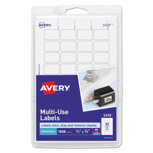 REMOVABLE MULTI-USE LABELS, INKJET/LASER PRINTERS, 0.5 X 0.75, WHITE, 36/SHEET, 28 SHEETS/PACK