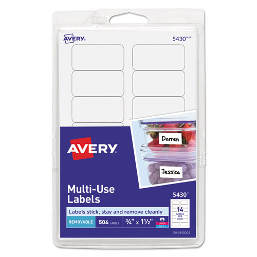 REMOVABLE MULTI-USE LABELS, INKJET/LASER PRINTERS, 0.75 X 1.5, WHITE, 14/SHEET, 36 SHEETS/PACK