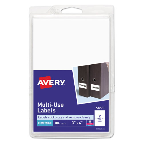 REMOVABLE MULTI-USE LABELS, INKJET/LASER PRINTERS, 3 X 4, WHITE, 2/SHEET, 40 SHEETS/PACK, (5453)
