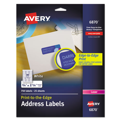 VIBRANT LASER COLOR-PRINT LABELS W/ SURE FEED, 3/4 X 2 1/4, WHITE, 750/PK