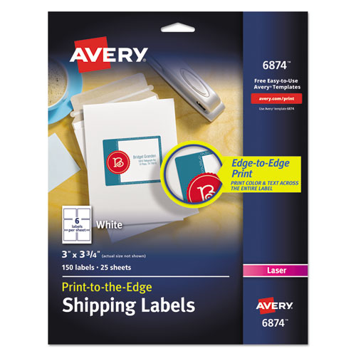 VIBRANT LASER COLOR-PRINT LABELS W/ SURE FEED, 3 X 3 3/4, WHITE, 150/PK