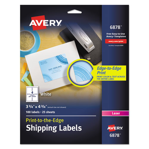 VIBRANT LASER COLOR-PRINT LABELS W/ SURE FEED, 3 3/4 X 4 3/4, WHITE, 100/PK