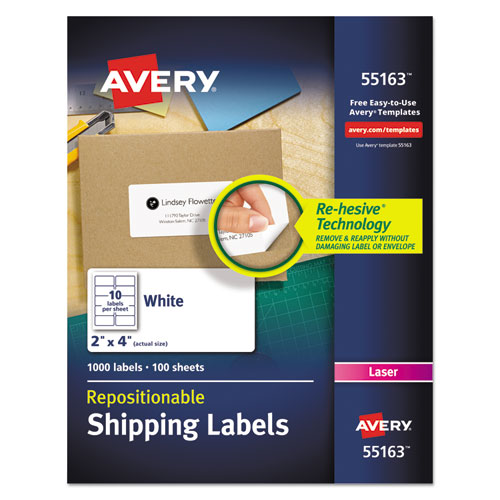REPOSITIONABLE SHIPPING LABELS W/SURE FEED, INKJET/LASER, 2 X 4, WHITE, 1000/BOX