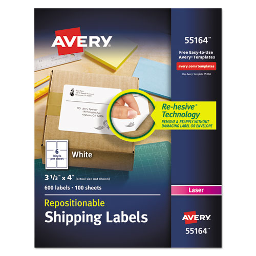 REPOSITIONABLE SHIPPING LABELS W/SUREFEED, LASER, 3 1/3 X 4, WHITE, 600/BOX