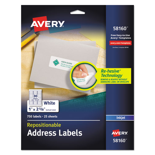 REPOSITIONABLE ADDRESS LABELS W/SUREFEED, INKJET/LASER, 1 X 2 5/8, WHITE, 750/BX