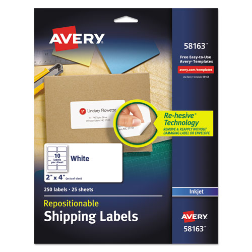 REPOSITIONABLE ADDRESS LABELS W/SURE FEED, INKJET/LASER, 2 X 4, WHITE, 250/BOX
